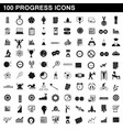 100 progress icons set simple style vector image
