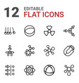 12 physics icons vector image vector image