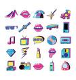 80 y 90 pop art set icons vector image vector image