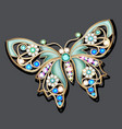 a jewelry brooch butterfly with precious stones vector image
