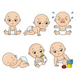 baby set in different poses such as standing vector image vector image