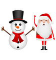 cartoon funny santa claus and snowman waving hands vector image