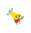 cartoon party pear fruit character playing guitar vector image vector image