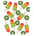 colorful fruit icecream kiwi flavor summer treat vector image