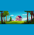 country village house and forest landscape vector image