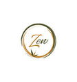 creative zen brush with bamboo leaves logo sign vector image
