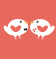 cute flat white love birds bride and groom on red vector image