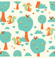 cute squirrels and birds in the forest pattern vector image vector image