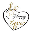 easter lettering card easter bunny and easter egg vector image vector image