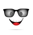 face cartoon smile with sunglasses vector image vector image
