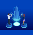 financial technology smart city isometric concept vector image vector image