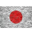 Flag of Japan on a brick wall vector image vector image