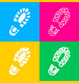 footprint boot sign four styles of icon on four vector image