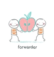forwarder is holding an apple vector image vector image
