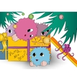 four cute colorful monsters gift box christmas vector image vector image