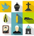 Funeral services icons set flat style vector image vector image