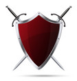 Glittering red metallic shield and two swords vector image