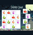 halloween sudoku game template with witch potion