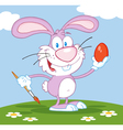 Happy Pink Rabbit Painting Easter Egg vector image vector image