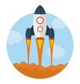 Icon of Flying Rocket Start Up symbol Flat style vector image