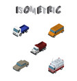 isometric automobile set of first-aid lorry vector image vector image