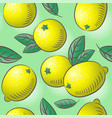 lemon seamless pattern ripe fruits with leaves vector image
