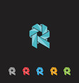 letter design r template vector image