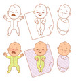 little baby cry smile sleep vector image vector image