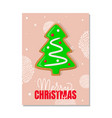 merry christmas greeting card gingerbread tree vector image vector image