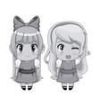 monochrome full body couple cute anime girl facial vector image vector image