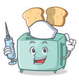 nurse toaster character cartoon style vector image vector image