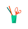 office cup with scissors pen vector image
