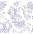 Outline hand drawn leaves and berries seamless pat vector image vector image