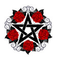 pentagram with red roses vector image