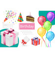 realistic birthday elements composition vector image vector image