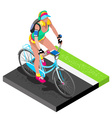 Road Cycling Cyclist Working Out Isometric 3D vector image vector image