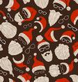 Seamless Christmas pattern of Santa hats beards vector image