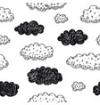seamless doodle clouds pattern weather vector image