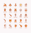 set icons and symbols for camping and hiking vector image vector image