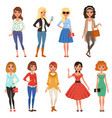 set of attractive girls in fashionable casual vector image