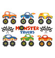 set of isolated monster trucks vector image vector image