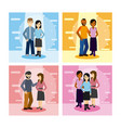 set of young couple cartoons vector image