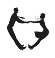 silhouette funny couple wearing vintage vector image vector image