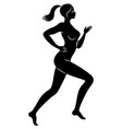 silhouette slender lady the girl is running vector image vector image
