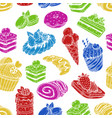 sketch sweets and bakery in seamless pattern vector image