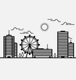 skyline cityscape building black and white line vector image