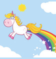 smiling magic unicorn character vector image vector image