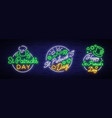st patricks day is collection of neon signs vector image