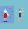 tech icons and busy women two colorful posters vector image