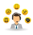 technical service and call center icon design vector image